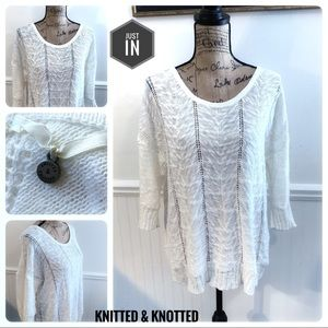 Knitted & Knotted Linen Sweater Size Large